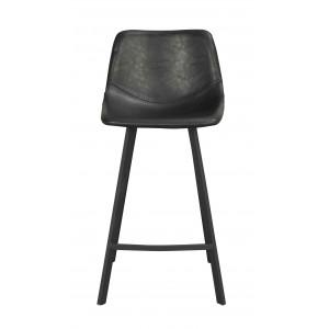 Baro kėdė Alpha, 2 vnt. (juoda PU / juodos metalinės kojos)