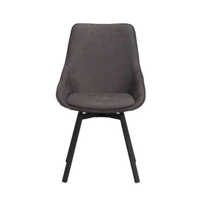 Kėdė Alison, 2 vnt. (pilkas mikropluoštas / juodos kojos)