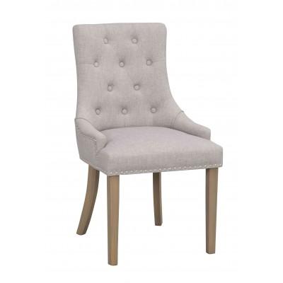 Kėdė Vicky, 2 vnt. (šviesiai pilkas audinys / vintažinio stiliaus kojos)