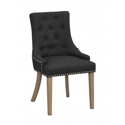 Kėdė Vicky, 2 vnt. (antracito spalvos audinys / vintažinio stiliaus kojos)