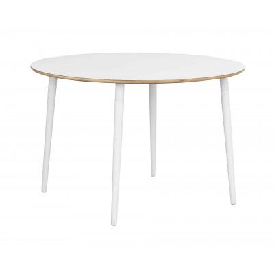 Apvalus valgomojo stalas Fusion (baltas laminatas / baltos valcuotos kojos)