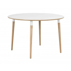 Apvalus valgomojo stalas Fusion (baltas laminatas / ąžuolo spalvos kojos)