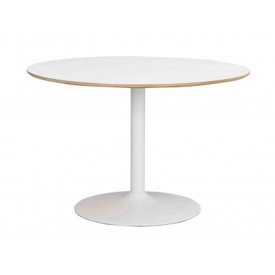 Apvalus valgomojo stalas Fusion (baltas laminatas / balta centrinė koja)