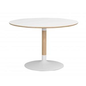 Apvalus valgomojo stalas Fusion (baltas laminatas / chromuota centrinė koja)