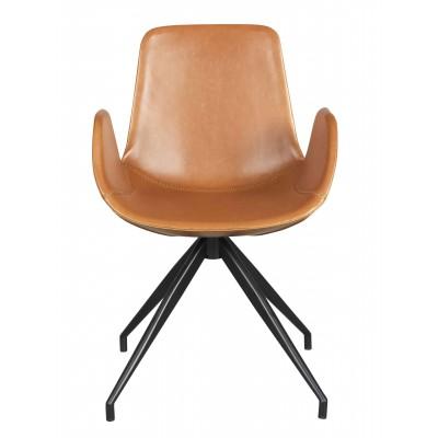 Kėdė Kelsey, konjako spalvos PU audinys / juodos kojos, 2 vnt.
