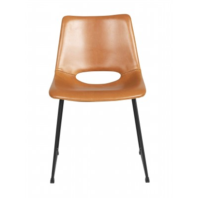 Kėdė Manning, 2 vnt. (konjako spalvos PU audinys / juodos kojos)
