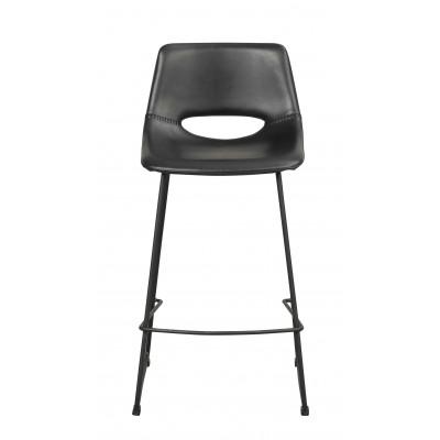 Baro kėdė Manning, 2 vnt. (juodas PU audinys / juodos metalinės kojos)