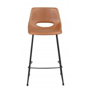Baro kėdė Manning, 2 vnt. (konjako spalvos PU audinys / juodos kojos)