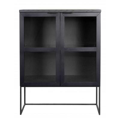Spinta Everett, 125 cm, su stiklinėmis durelėmis (juodos spalvos ąžuolo / juoda)