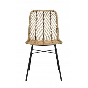 Kėdė Manado, 2 vnt. (medaus atspalvio ratanas / juodas metalas)