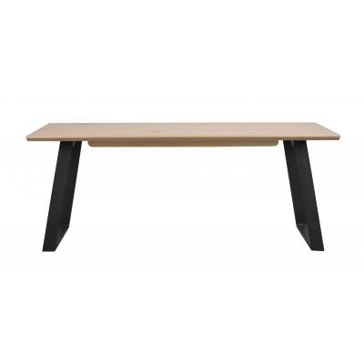 Valgomojo stalas Melville, 210x95 cm (balkšvas ąžuolas / juodos metalinės kojos)