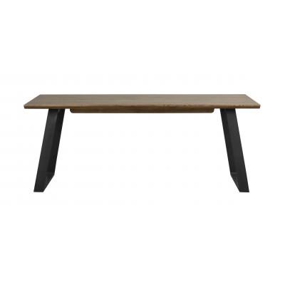 Valgomojo stalas Melville, 120x95 cm (rudas ąžuolas / juodas metalas)