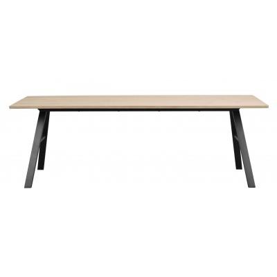Valgomojo stalas Brigham, 220x90 cm (balinto laukinio ąžuolo / juoda)