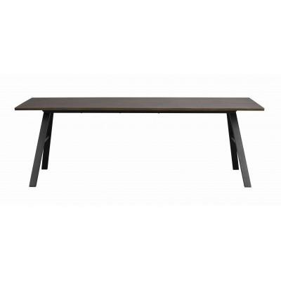 Valgomojo stalas Brigham, 220x90 cm (rudo laukinio ąžuolo / juoda)