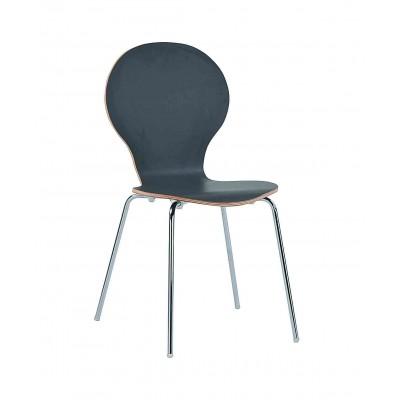 Kėdė Fusion, grafito pilkos spalvos laminatas, chromuotos kojos, 4 vnt.