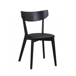 Kėdė Ami, 2 vnt. (juodai beicuotas uosis / juodos spalvos PU)