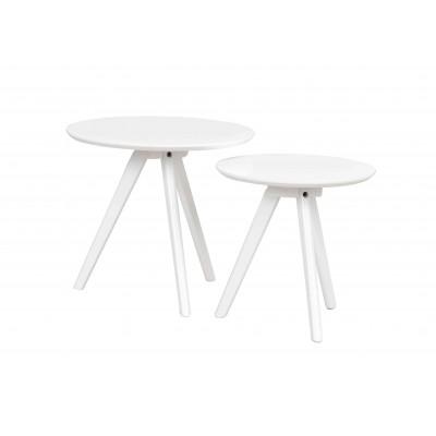 Apvalių kavos staliukų komplektas Yumi (balta)