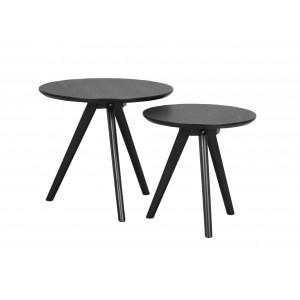 Apvalių kavos staliukų komplektas Yumi (juodai beicuotas)