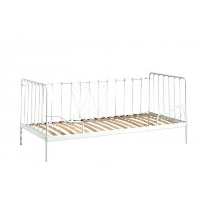 Jūrinio stiliaus lova Alice, balta, 90x200 cm