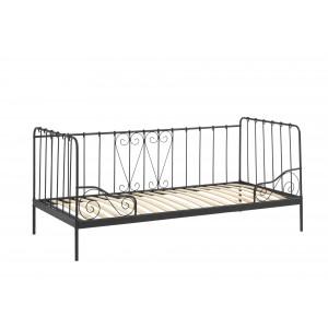 Jūrinio stiliaus lova Alice, juoda, 90x200 cm