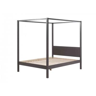 Lova su baldakimu Pino, 140x200 cm, rusvai pilka