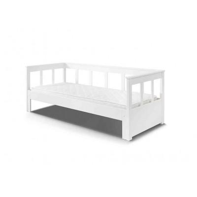 Jūrinio stiliaus lova Pino su ištraukiama miegamąja dalimi, balta