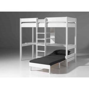 Palėpės tipo lova su sofa-lova, balta